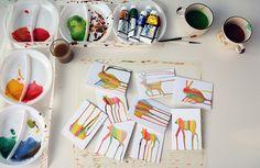 creatur paintingsidea, watercolor animals, art journal, postcards, long legs