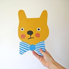 Painted bear with bow tie.