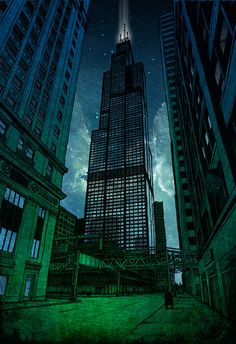 """On the Shoulders of Giants"" is a gutter-punk's view of the imposing Sears Tower by Chicago artist Kevin Frank.  The print was painsta..."