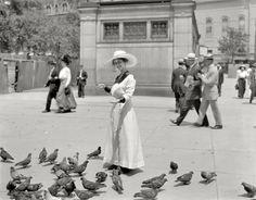 "Boston, Massachusetts, circa 1915. ""Feeding the pigeons in Boston Common."""