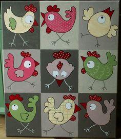 Une poule sur... une toile  apliques para pano de prato