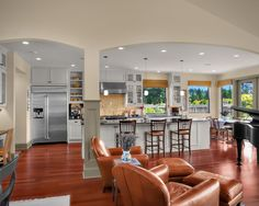 dining areas, open floor plans, living rooms, arch, open spaces, family rooms, living room designs, live room, open kitchens