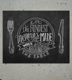 chalkboard design, chalkboard quotes kitchen, kitchen art, art prints, kitchen chalkboards, chalkboard art, thanksgiving table, fondest memori, kitchen walls