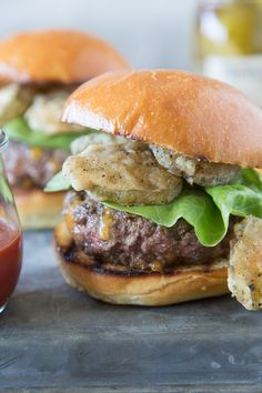 Cheese Bellied Fried Pickle Burgers