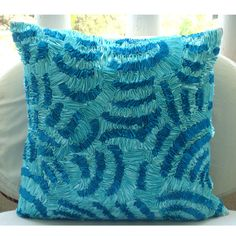 Aqua Ripples Euro Sham Covers 26x26 Inches by TheHomeCentric - etsy