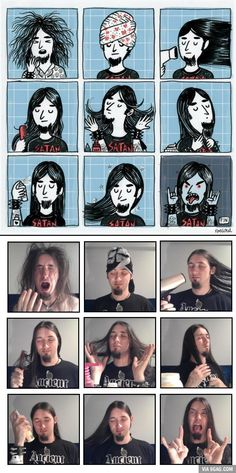 A metal wake up, cartoon vs. reality