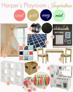 navy, coral, mint and gold playroom