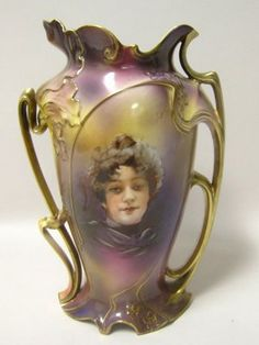 Large Exquisite RS Prussia Portrait Vase
