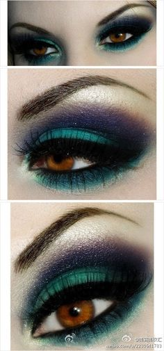 green, blue, dark smokey look | brown eyes