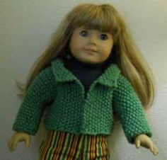 Super easy knit jacket for American Girl doll. I made several for Christas presents.