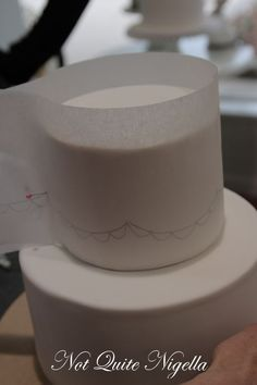 faye cahill cake class: Australian method of ganaching a cake, but check out how she transfers a pattern to fondant!