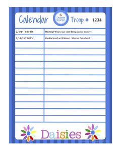 Girl Scouts - FREE Download - Daisies Calendar (Word format)