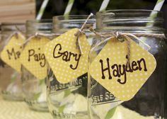 lemonade stand party glasses for drinking!! love the name tags!!