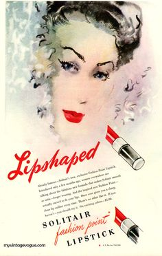 A lovely 1846 ad for Solitair Lipstick. #vintage #1940s #makeup #cosmetics
