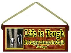 Amazon.com: Funny Cow Country Western Gift Life Is Tougher When You're Stupid John Wayne Quote Red Wooden Sign: Furniture & Decor Johnwayn, Funny Farm Quotes, Wooden Sign