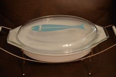 vintage pyrex rare Aqua Turqouise fish lid and oval casserole with holder