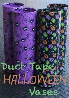 Duck Tape Halloween Vases