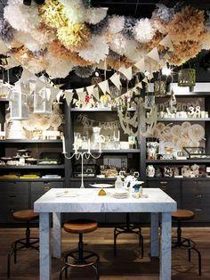 decor, shop, pom poms, idea, store, paper flower, inspir, display, parti