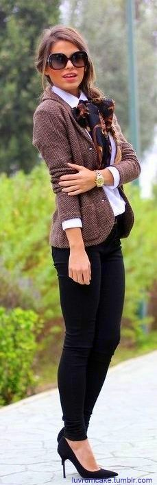 Love this! It is sophisticated, but with a modern twist. The pants and sassy stiletto pumps really change the game.