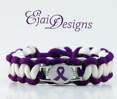 Alzheimer's Crohn's Disease Epilepsy Lupus Migraine Thyroid Cancer Arnold Chiari Rett ADHD Purple Ribbon Awareness Paracord Charm Bracelet