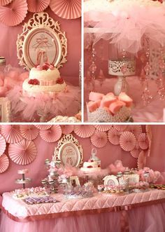 Pink Ballerina Birthday Party Full of CUTE Ideas via Kara's Party Ideas | Kara'sPartyIdeas.com #Ballet #PartyIdeas #Supplies #Girl #Pink #cake #backdrop #tablecloth #desserttable
