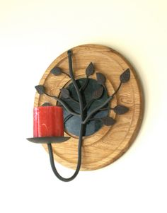 Metal Tree Branch Wall Sconce Upcycled Round Wooden by Rinnovato, $30.00