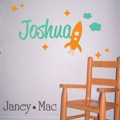 Max's Room: Wall Decor https://www.etsy.com/listing/65354420/rocket-wall-decal-with-name-spaceship