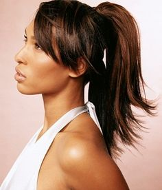 Layers work well in just about every hairstyle and with every face shape. Layered hair is a great way to add volume and body to your hair. The layered haircut gives the hair a lot of movement. Layered Hairstyle featuring Fitness Ponytail with adoring Bangs.