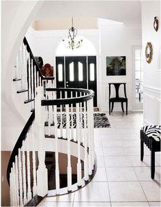 interior design, black interiors, black doors, front doors, white decor, black white, white interiors, style at home, zebra print