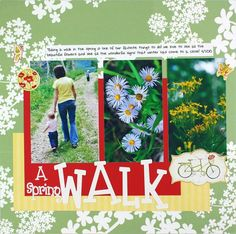 A Spring Walk Classic Spring Stickers #Scrapbooking Layout from Creative Memories    http://www.creativememories.com
