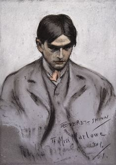 Everett Shinn - Self-portrait done in 1901 in his charcoal style.