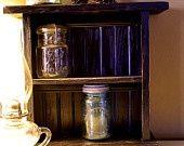 Primitive Distressed Black Shelf Farmhouse Painted Furniture / Shabby Chic Cottage Kitchen Organizer