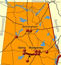 Map of Alabama with location of civil rights sites