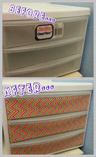 Organizational Tip...cover clutter with chevron duct tape! So easy! duct tape decorations, duct tape organization, makeup drawer, classroom duct tape, duct tape classroom ideas