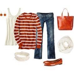 Burnt orange & white with stripes