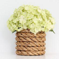 nautical centerpiece diy nautic, craft, idea, centerpiec, ropes, rope vase, nautical theme, nautic rope, flower