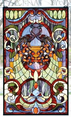 peacock stained glass panel
