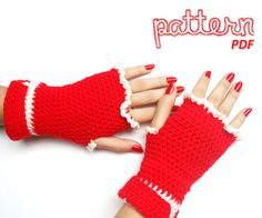 Crochet Pattern Christmas Fingerless Mitten