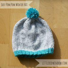 Easy Winter Pom Pom Hat Knitting Pattern from Little Red Window