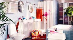 Salle de bains flamant rose