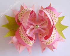 Princess Bow in Pink & Lime Green