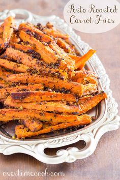 Roasted hearty vegetables are a staple at our house. These Pesto Roasted Carrot Fries are amazing!