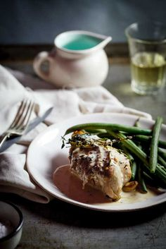 Roasted chicken breasts with mustard-cream sauce