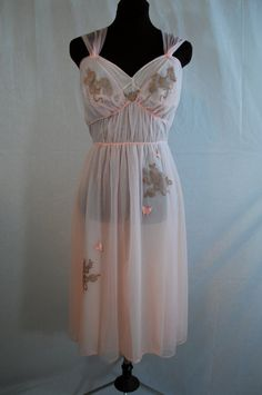 1950s Artemis Pink Peignoir Set, Nightgown Robe, 38