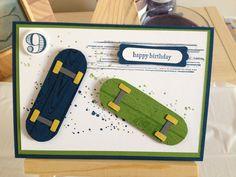 Boys birthday card with skateboards