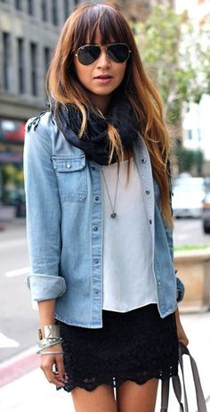 Simple white tee, black infinity scarf, black lace skirt, fun silver bangles and of course, a denim shirt.