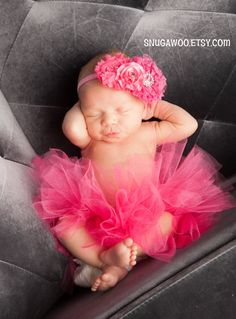 Azlyn Collection- Hot pink Newborn tutu, Infant Baby Girl Tutu WITH a matching & headband bow, newborn photo prop, baby girl gift, newborn on Etsy, $34.00