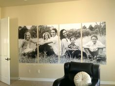 Love this photo broken into sections then printed--great ideas for a big blank wall