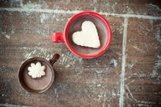 freeze cool whip and cut out with cookie cutter for cute hot chocolate.