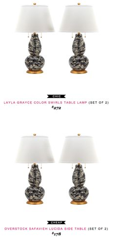 Layla Grayce Color Swirls Table Lamp $272 vs Overstock Lucida Side Table $178